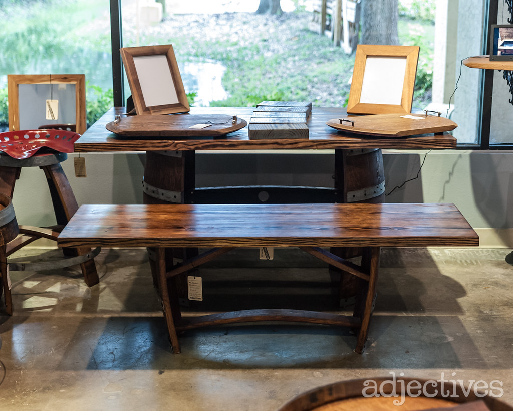 Handcrafted wine barrel table and bench by Wine Of A Kind at Adjectives Altamonte