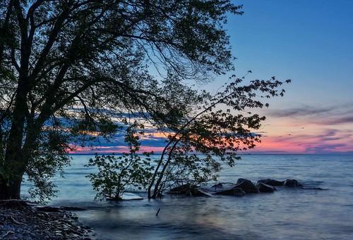 canada grimsby lakeontario landcastter night ontario rock tree colour evening lake nature ortbaldaufcom outdoors photography rockyshoreline sunlight sunset waves
