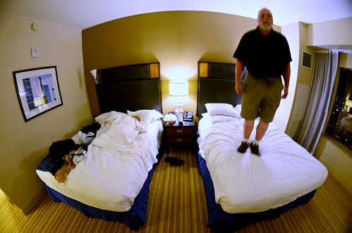 Early Morning Bed Jumping at the Pontchartrain Hilton Hotel