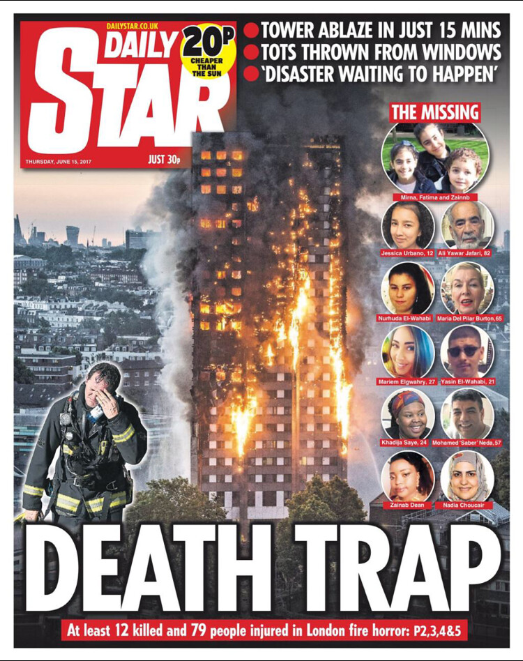 Grenfell Tower Fire (14 June 2017) - Daily Star - Death tr