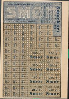 rationeringsmærker, smør 1917-1918