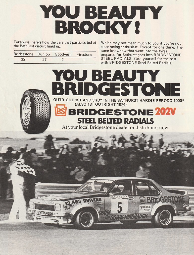 1975 Bridgestone Tyres Peter Brock Bathurst Win Ad - Austr… | Flickr