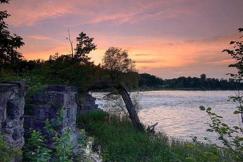 sunset river ruins reflection clouds summer pakenham