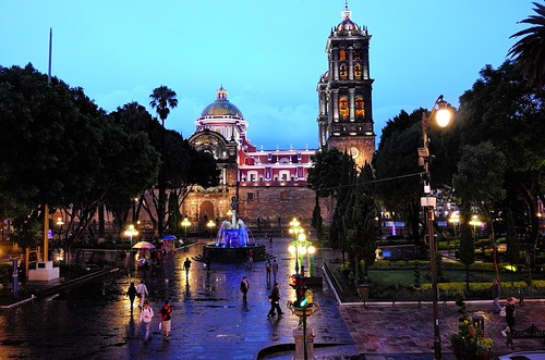 Zocalo Puebla at night and largest cathedral towers in Mexico