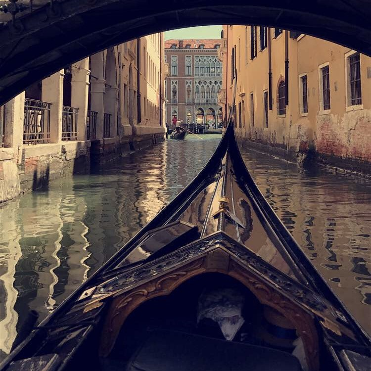 Gondola ride through Venice, Italy