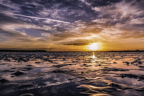 sandbanks poole harbour dorset sunset seascape sky reflections