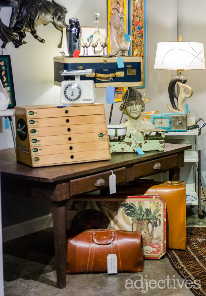 Railroad porter's desk from early 1900s and vintage decor by Posh Peacock in Adjectives Altamonte