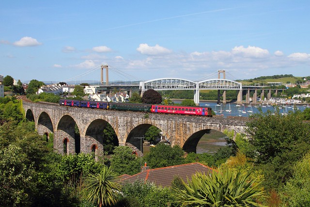 153325+153372+150129 on the 2C48 1603 Plymouth to Truro cross Coombe viaduct, Saltash on the 17th June 2017