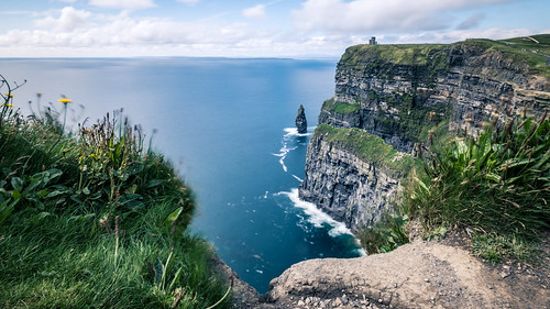 grass clare natural landscape ireland cliffs landmark cliffsofmoher outdoor rocks travel tower water seascape moher nature popular sea countyclare ie onsale