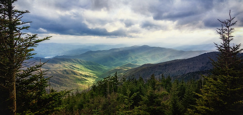 clingmansdome greatsmokymountains northcarolina forest grandeur landscape mountain nature panorama park sunlit trees valley