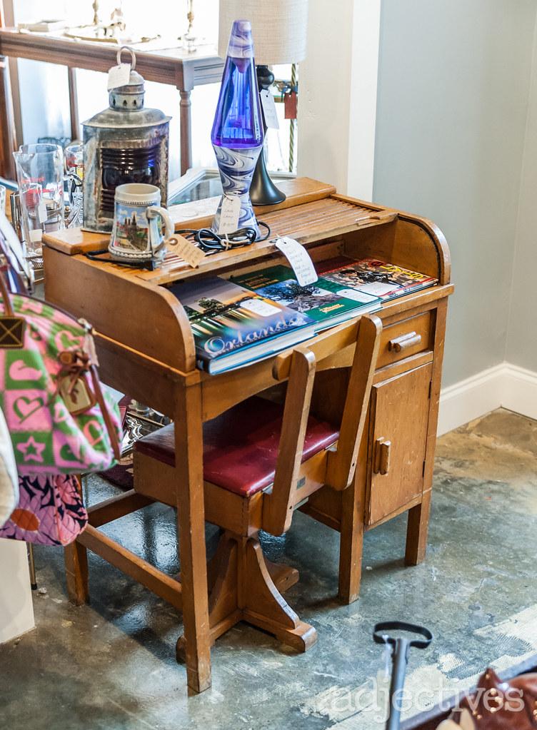 Vintage Childrens wood desk by Pot Belly Antiques at Adjectives Altamonte