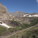 View looking up Siyeh Pass trail