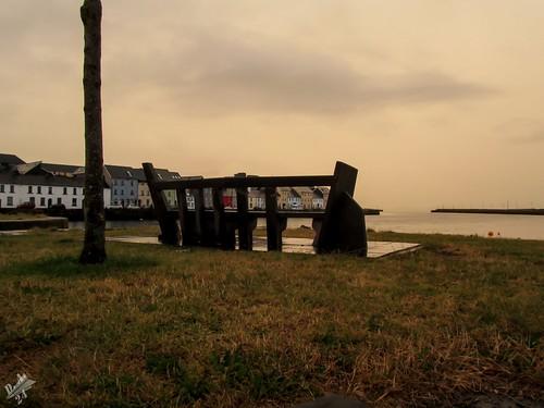 tramonto sunset galway irlanda ireland river corrib fiume panchina bench eire