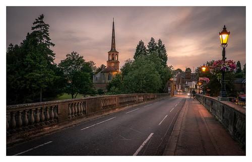 wallingford bridge evening sunset english town church spire lamplight thames fineart davidhaughton