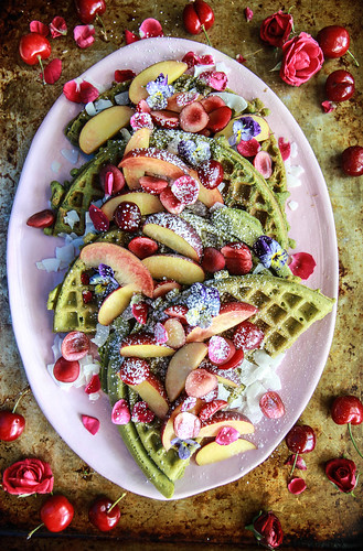 Matcha Waffles (Gluten Free and Vegan) from HeatherChristo.com | by Heather Christo