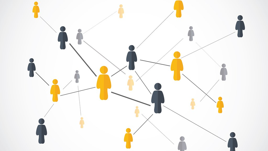 A graphic of a network of people