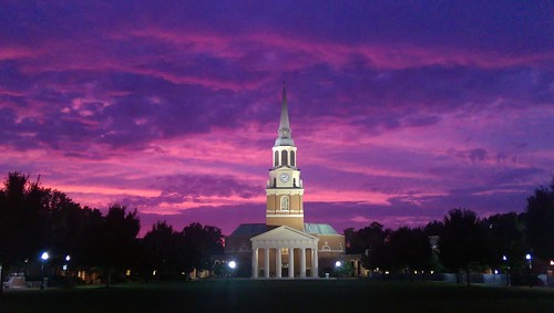 winstonsalemnc wakeforestuniversity wfu waitchapel sunset evening clouds 2017 thequad hearnplaza