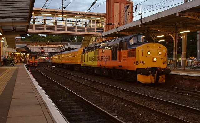 Colas Loco 37175 at the front of the Track Measuring Train, with 97302 on the rear, working from Cambridge to March, via East Anglia, this train reverses at Ipswich. 23 06 2017