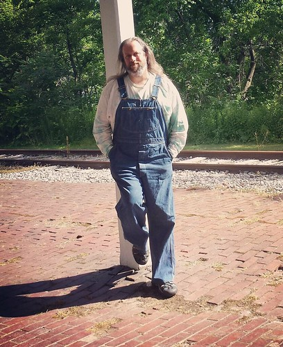 Old depot selfie (potential future author pic) #overalls #vintage #Lee #bluedenim #dungarees #denim #tiedye #ootd #longhairdontcare | by Jaquandor