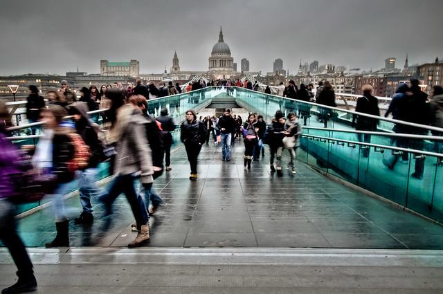 Millennium Bridge on a Grey Day - London