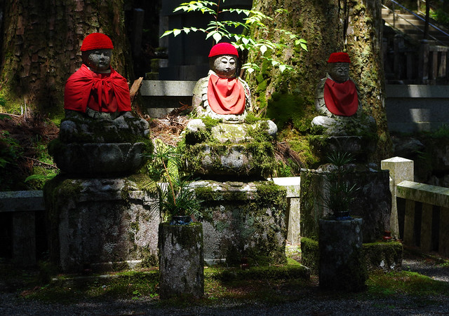 Three Jizos at Okunoin, Koyasan, Japan