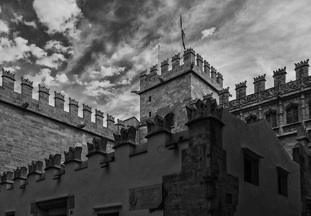 Rear of The Silk Exchange ( La Lonja or La Llotja de la Seda) Valencia (BW) (Panasonic Lumix LX15)