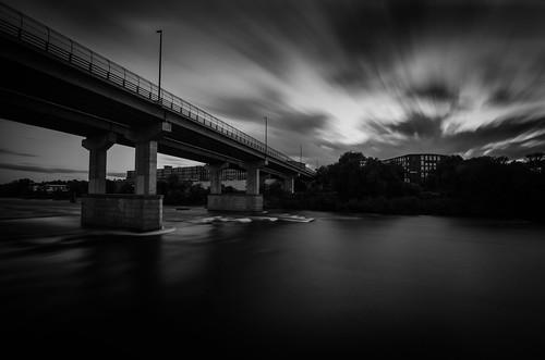 bridge cloudscape clouds manchester newhampshire merrimack river downtown longexposure bw monochrome windy lines contrast