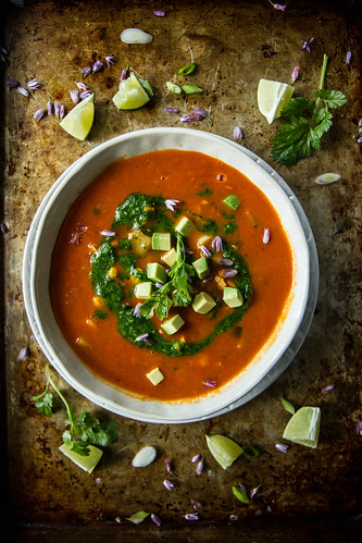 Southwestern Vegetable Soup with Spicy Cilantro Sauce | by Heather Christo