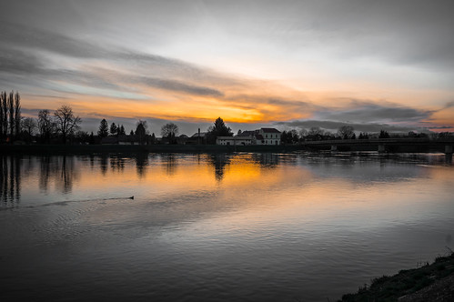 sunset drava rivers ptuj