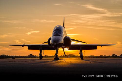 sunset raf hawk trainer jet airplane aircraft aeroplane silhouette london airport west sky orange 100 anniversary
