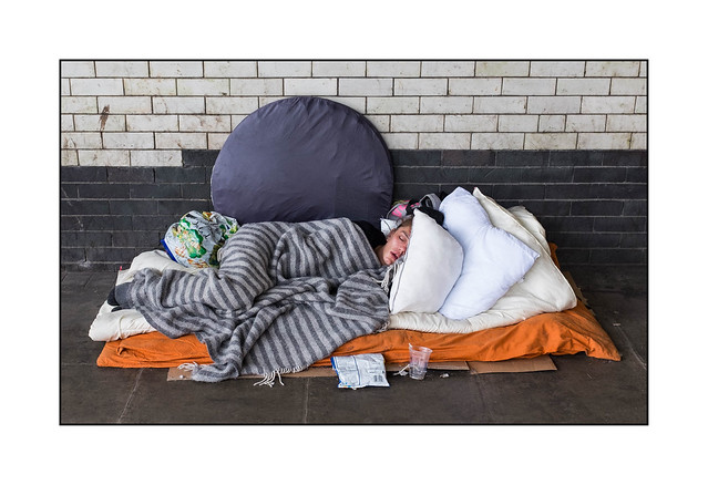 Homeless Woman, North London, England.