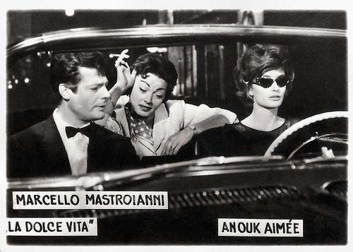 Marcello Mastroianni and Anouk Aimee in La dolce vita (1960)