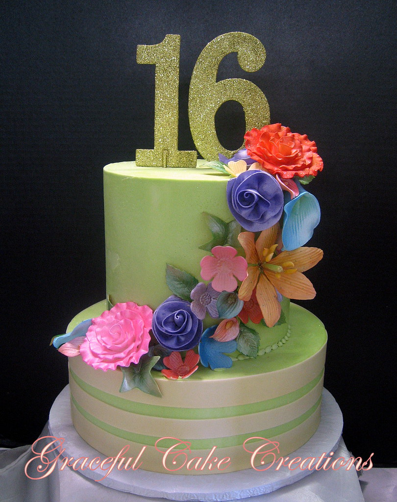 Admirable Elegant Sweet Sixteen Birthday Cake In Celedon Green Butte Flickr Personalised Birthday Cards Akebfashionlily Jamesorg