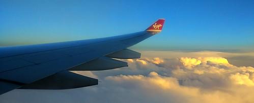 virgin sunset clouds platinumheartaward virginatlantic plane wing