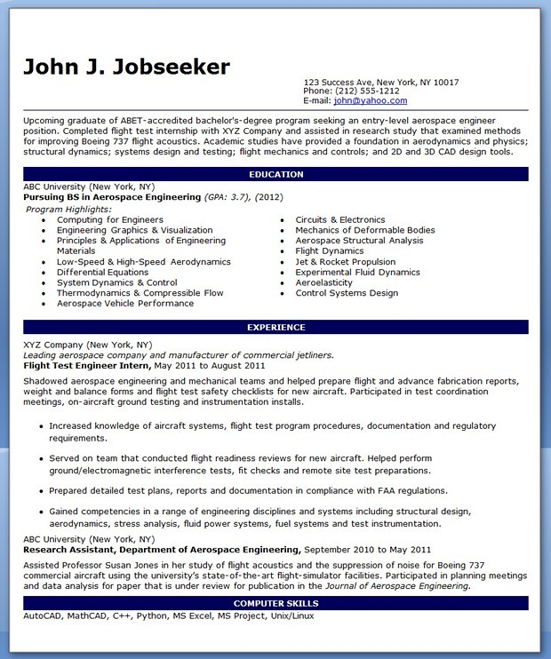 entry level aerospace engineer resume sample template