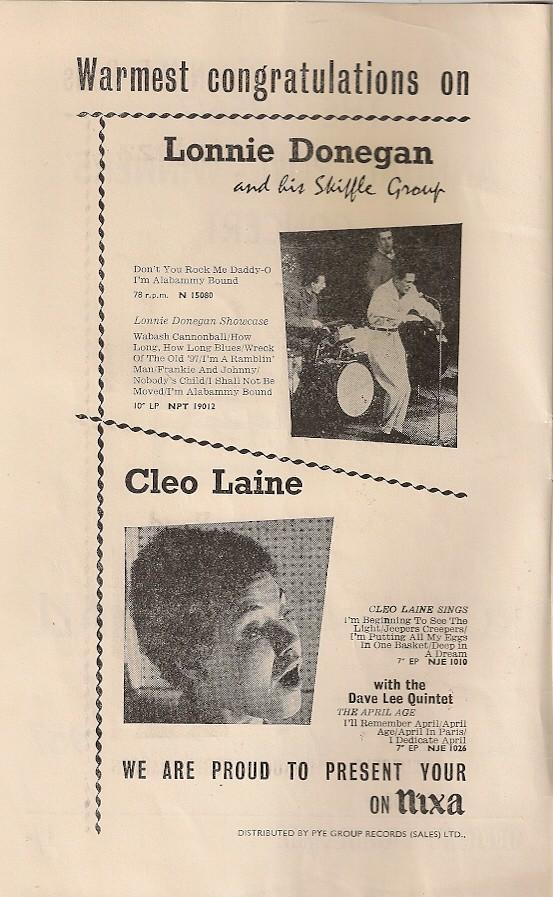 02 - Advert - Lonnie Donegan & Cleo Laine on Nixa Records
