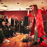 Tue, 09/05/2017 - 7:31pm - Maggie Rogers delights a room of WFUV members at Electric Lady Studios in New York City, 5/9/17. Hosted by Carmel Holt. Photo by Gus Philippas
