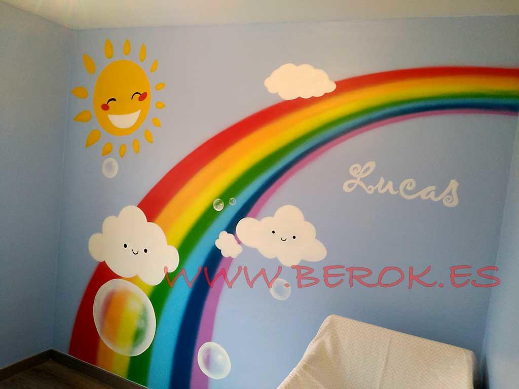 Mural Infantil Arcoiris Pintura Mural Decoracion Graffit Flickr