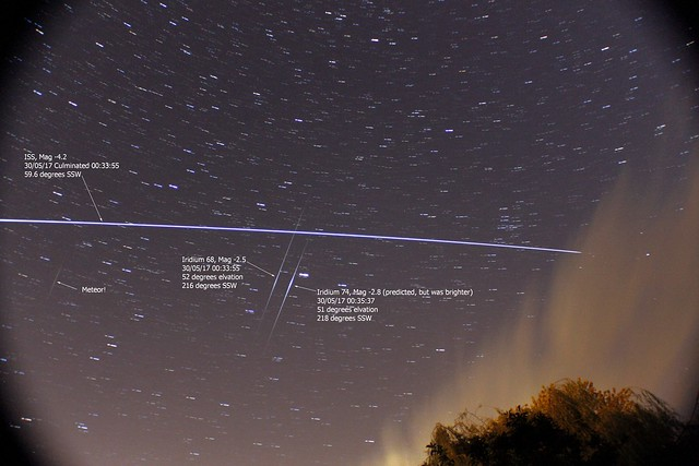 ISS, Iridium 68 & 74 Double Flare + Meteor! 30/05/17
