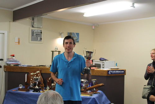 Andrew Coffin, winner of the Winter Series trophy and Chantal Grass | by PLSC (Panmure Lagoon Sailing Club)