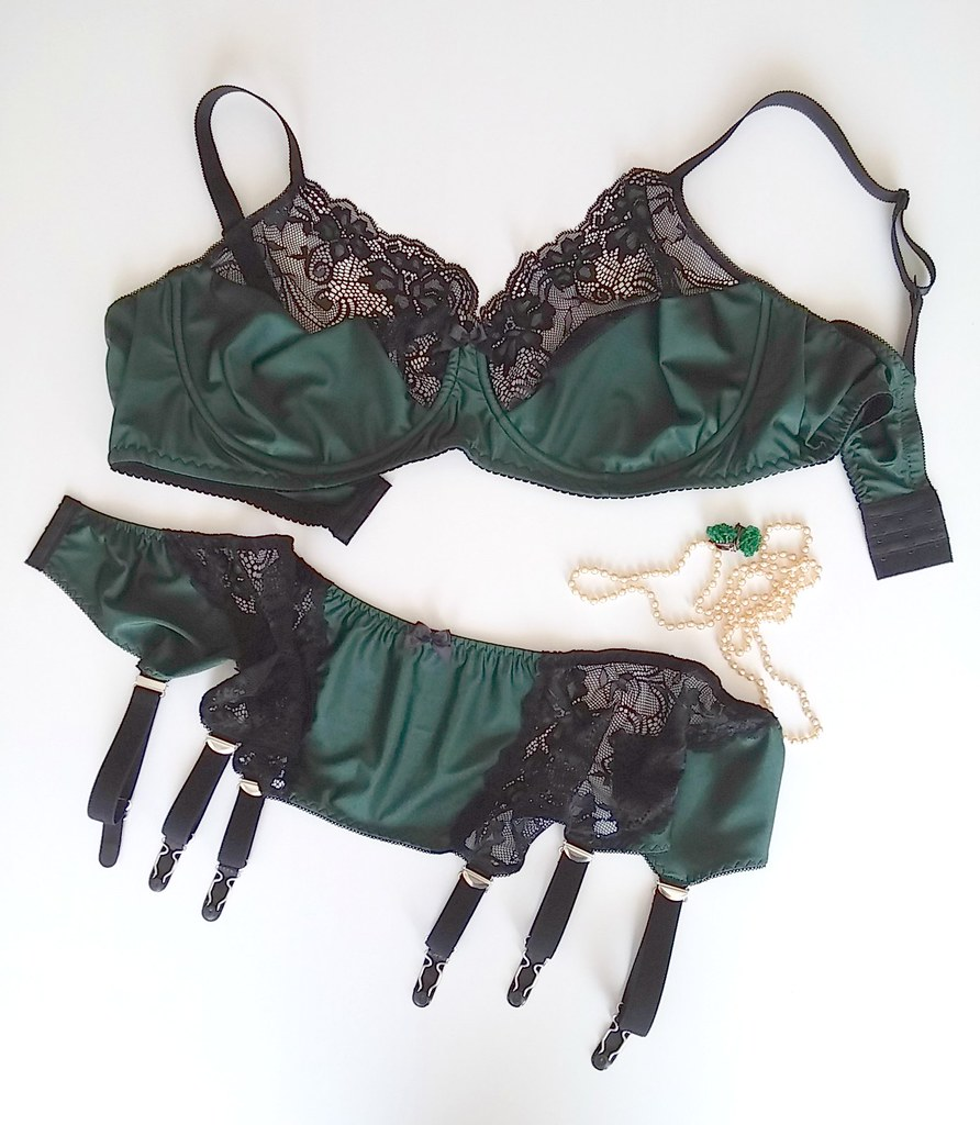... Green Lucy Garter belt and customized Scarlett bra