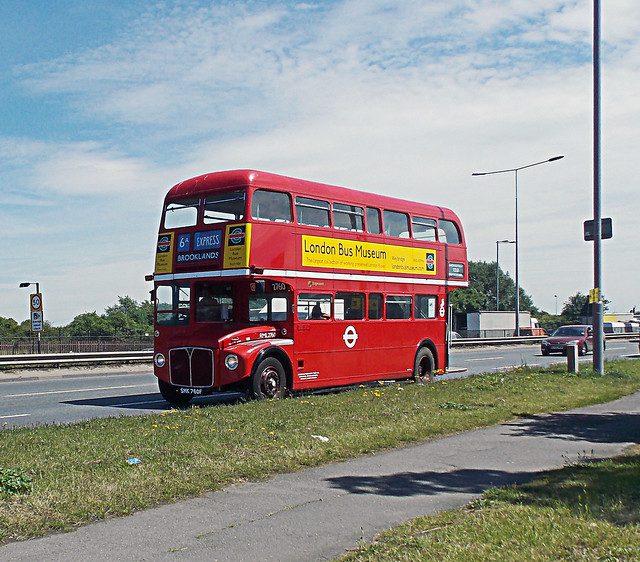 RED ROUTE MASTER TFL DOUBLE DECK BUS ON AN EAST LONDON BOROUGH MAIN SUBURB HIGHWAY STREET ENGLAND DSCN0257