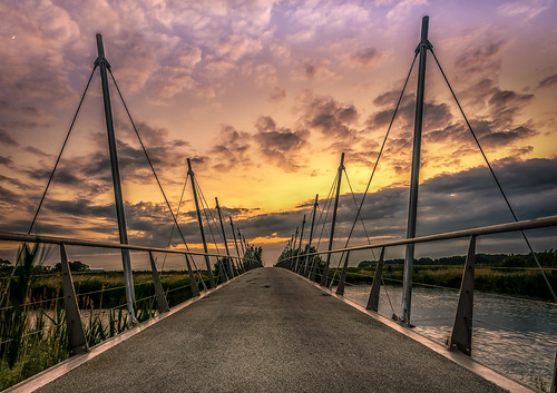 bridge sunset architecture water clouds sky purmerend stokkenbrug