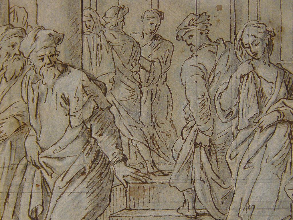 JANSSENS Abraham - La Femme Adultère (drawing, dessin, disegno-Pontoise) - Detail 3