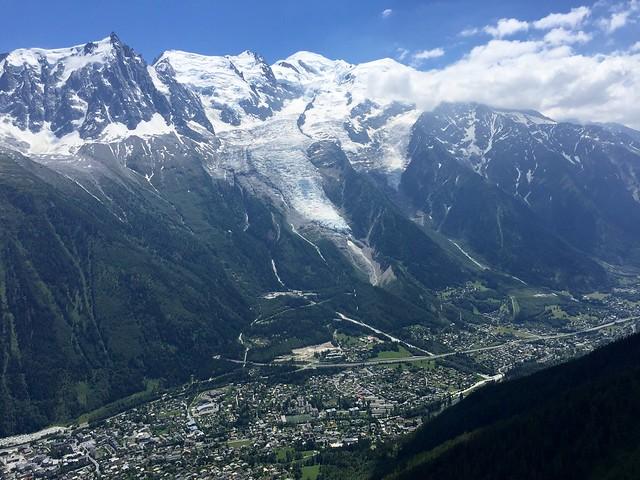 Chamonix, Mont Blanc, Aiguille du Midi and Glacier des Bossons. France.