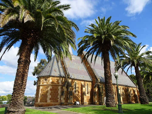 Bacchus Marsh. The beautiful Anglican Church built in 1877 with date palms.