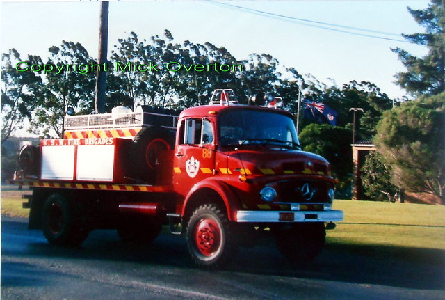 Mercedes 911 AWD fire truck in Campbelltown NSW July 1988