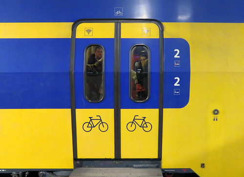 In Holland there are bikes on trains
