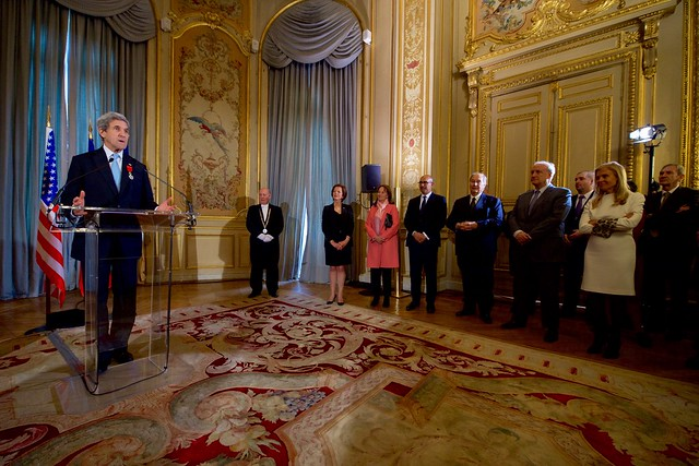 Secretary Kerry Delivers his Thanks After French Foreign Minister Ayrault Awarded him the Grand Office of the Légion d'Honneur