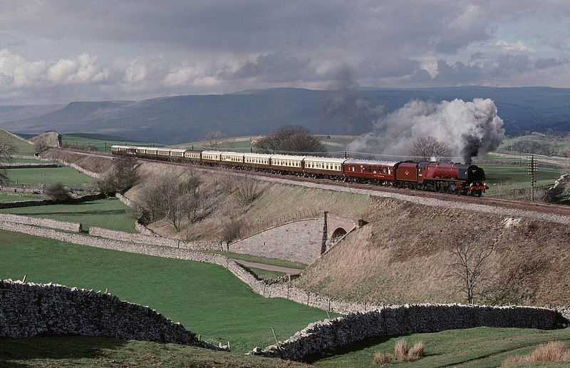 46229 Duchess of Hamilton passes Bullgill with a southbound CME.Some wires have been removed from the picture Copyright David Price No unauthorised use please